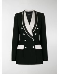 Dolce & Gabbana Double Breasted Two Tone Blazer - Black
