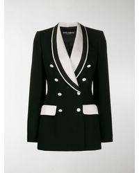 Dolce & Gabbana Zweireihige Jacke Aus Wolltuch In Stretch-Qualität - Schwarz