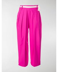 Eudon Choi Belted Waist Cropped Trousers - Pink