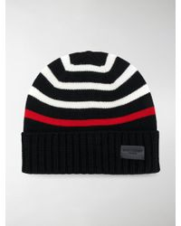Saint Laurent - Striped Knitted Beanie - Lyst