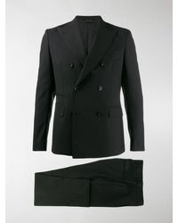 Tonello Fitted Double-breasted Suit - Black