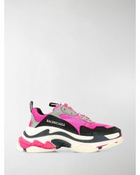 Balenciaga Triple S Low-top Leather Sneakers - Pink