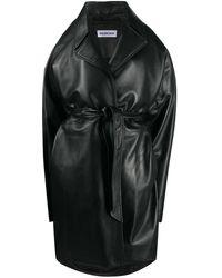 Balenciaga Oversize Belted Leather Coat - Black