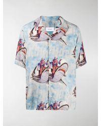 Rhude Shark Print Hawaiian Shirt - Blue
