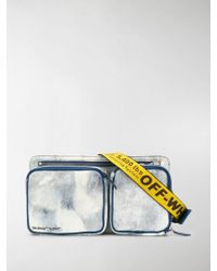 Off-White c/o Virgil Abloh Blue And Yellow Bleached Denim Crossbody Bag