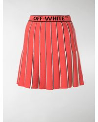 Off-White c/o Virgil Abloh Logo-printed Pleated Skirt - Red