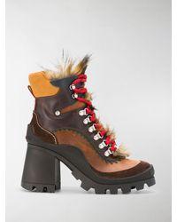 DSquared² Panelled Faux-fur Detail Ankle Booties - Multicolour