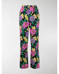 Balenciaga Lush Floral Print Track Trousers - Black