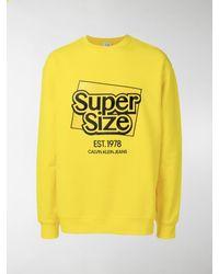 CALVIN KLEIN JEANS EST. 1978 Embroidered Slogan Logo Sweatshirt - Yellow