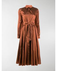 Max Mara Belted Midi Shirt Dress - Orange