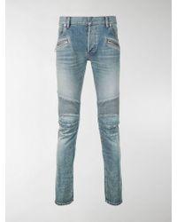 Balmain - Skinny Biker Jeans - Lyst