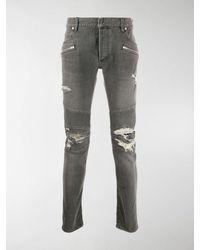 Balmain Jeans skinny Biker con strappi - Grigio