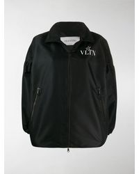 Valentino Logo Print Bomber Jacket - Black