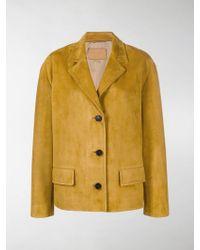Prada Brushed Leather Jacket - Yellow