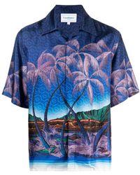 CASABLANCA Hemd mit Palmen-Print - Blau