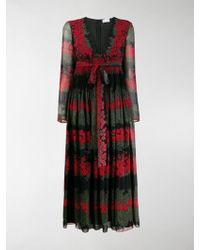 RED Valentino Floral-print Long Dress - Black