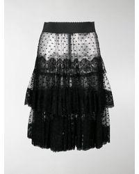Dolce & Gabbana Sheer Frilled Skirt - Black