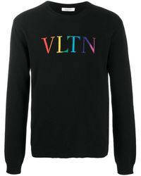 Valentino Intarsien-Pullover mit VLTN-Logo - Schwarz