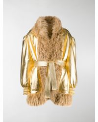 Miu Miu Faux-fur Trimmed Jacket - Metallic