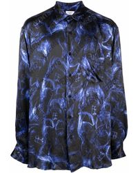 Vetements Hemd mit Totenkopf-Print - Blau