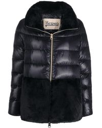 Herno Faux-fur Detail Down-feather Jacket - Black