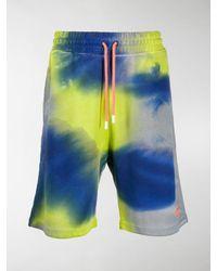 Marcelo Burlon Tie-dye Logo Track Shorts - Green