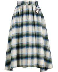 Golden Goose Chequered High-waist Cotton Skirt - Green