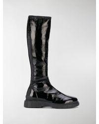 Car Shoe Crinkled Knee-high Boots - Black