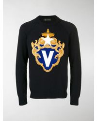Versace V Crest Logo Sweater - Blue
