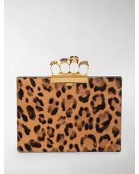 Alexander McQueen Knuckle Duster Leopard Clutch - Multicolour