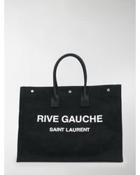 Saint Laurent Ysl Rive Gauche Tote Bag - Black