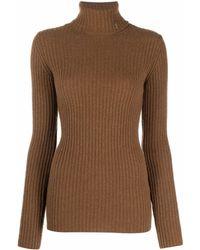 Saint Laurent Roll-neck Ribbed-knit Jumper - Brown