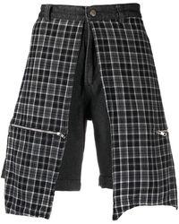 Youths in Balaclava Jeans-Shorts mit karierten Einsätzen - Schwarz