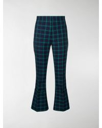 ROKH Checked Tailored Turn-up Pants - Blue