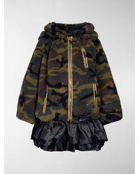 Miu Miu Camouflage-print Teddy Bomber Jacket - Green