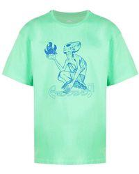 Rassvet (PACCBET) Alien-print Cotton T-shirt - Green