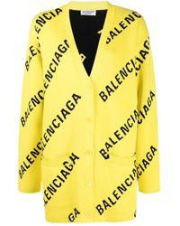 Balenciaga Oversized Logo-intarsia Cardigan - Yellow