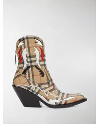 Burberry Topstitch Appliqué Vintage Check Cowboy Boots - Multicolor