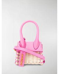Jacquemus Le Chiquito Tote Aus Stroh Mit Lederbesatz - Pink