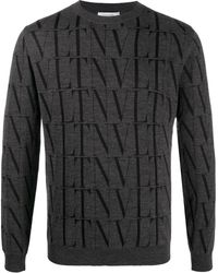 Valentino Pullover mit VLTN Times-Print - Grau