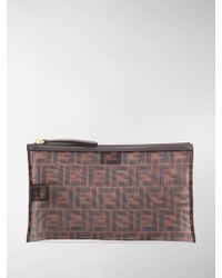 Fendi Large Ff Envelope Pouch - Brown