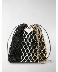 Prada Logo Plaque Net Bucket Bag - Black