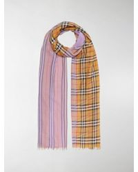 Burberry - Colour Block House Check Scarf - Lyst