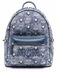 MCM Rucksack mit Jacquard-Logo - Blau