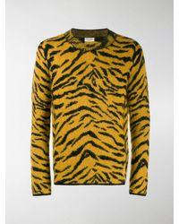 Saint Laurent Zebra Intarsia Sweater - Yellow