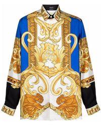 Versace Medusa Renaissance-print Silk Shirt - Yellow