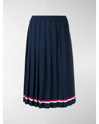 Thom Browne Rwb-stripe Pleated Skirt - Blue