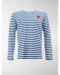 COMME DES GARÇONS PLAY T-shirt a righe con ricamo - Blu