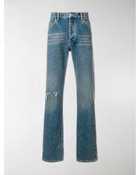 Balenciaga Distressed Detail Jeans - Blue