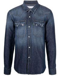 Department 5 Two-pocket Denim Shirt - Blue